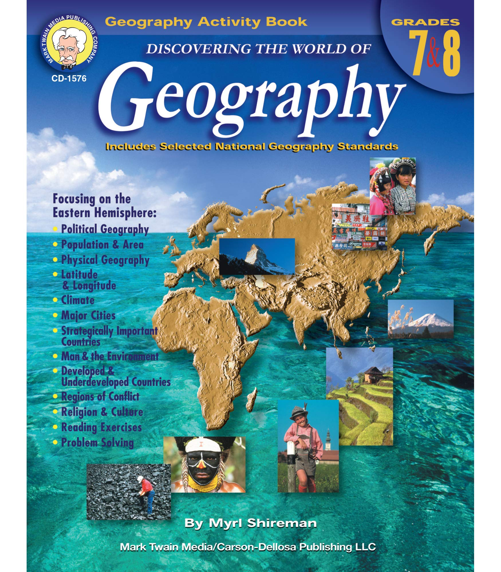 Mark Twain Media | Geography Resource Workbook | 7th–8th Grade, 128pgs (Discovering the World of Geography)