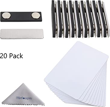 """NAME BADGE KIT U 50 BLANK TAGS CLEAR LABELS PINS 2X3 RED WHITE 1//8/"""" ROUNDED"""