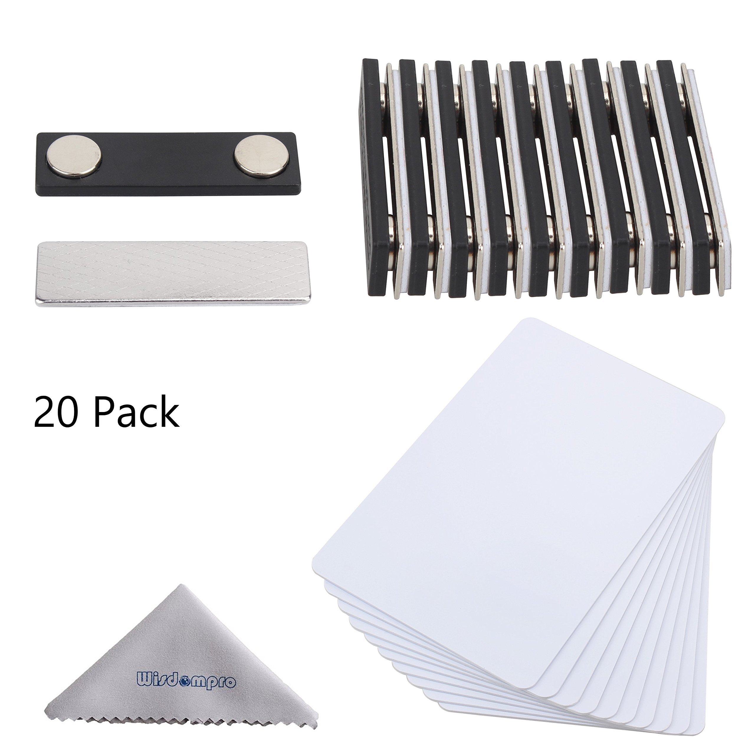 DIY Name Badges, Wisdompro 20 Set White Printable Blank PVC Badges (3-3/8'' x 2-1/8'') with Magnetic Name Tag For Jacket, Lapel,or Shirt - No Holes in your Fine Jackets or Shirts