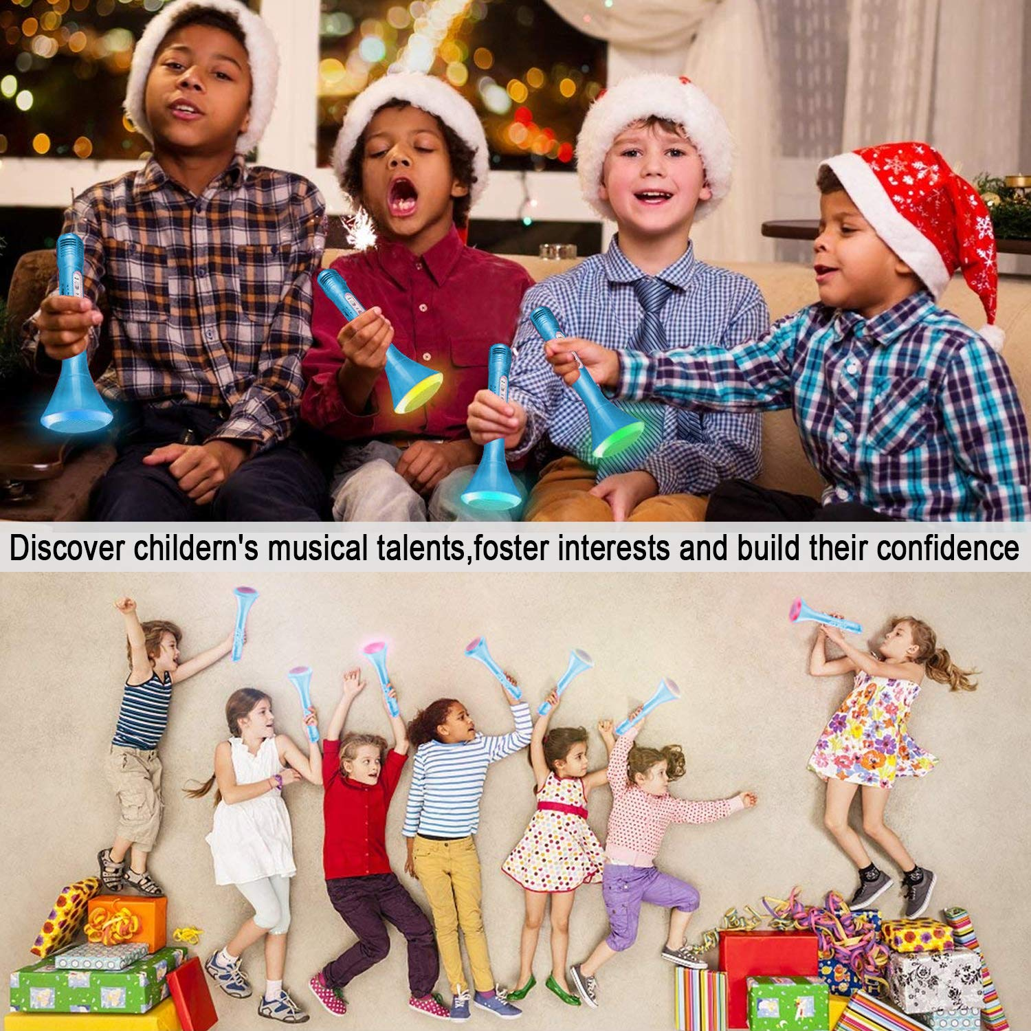 Kids Karaoke Machine Wireless Singing Microphone with Bluetooth Speaker Colorful LED Lights Handheld Portable Music Playing Toys  for Girls Boys Home Party KTV Xmas Birthday Gifts Andriod iOS PC iPad by Santery (Image #3)