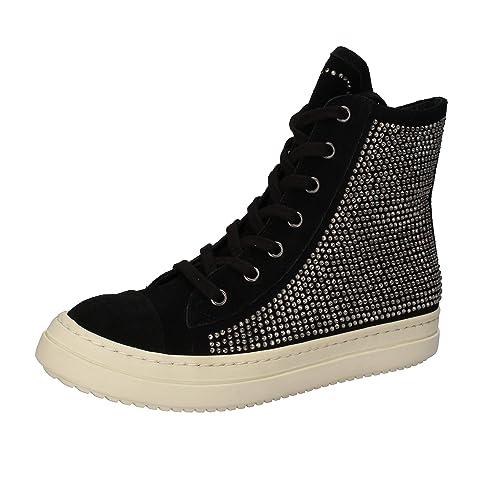 38d81eaadc6 TWIN-SET Sneakers Mujer Negro Gamuza Strass AE840 (36 EU)  Amazon.es ...