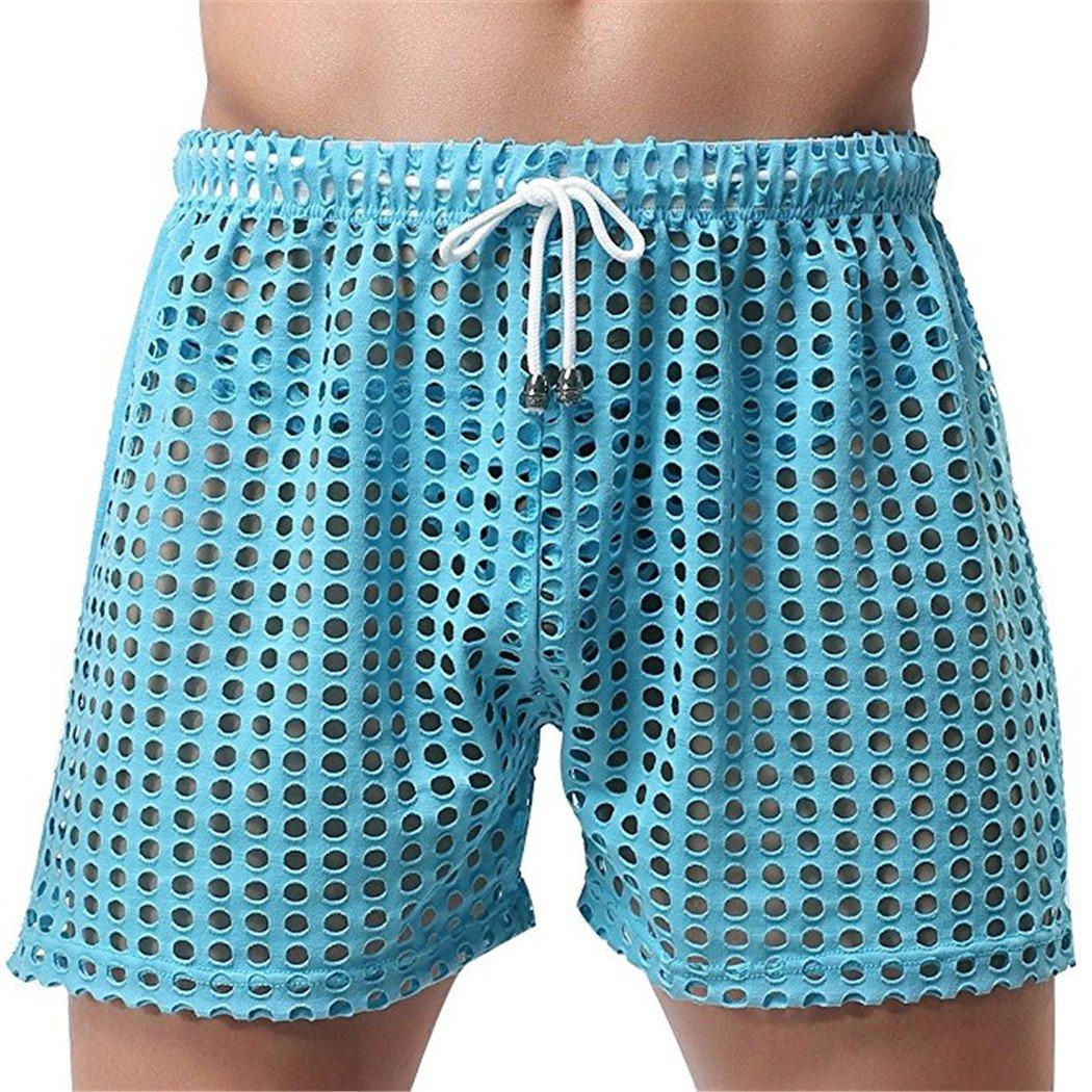 Leories Mens Hollow Openwork Drawstring Lounge Underwear Boxer Shorts