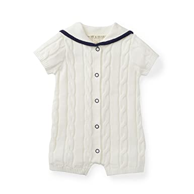3b180199f0c6 Amazon.com  Hope   Henry Layette White Sailor Sweater Romper  Clothing
