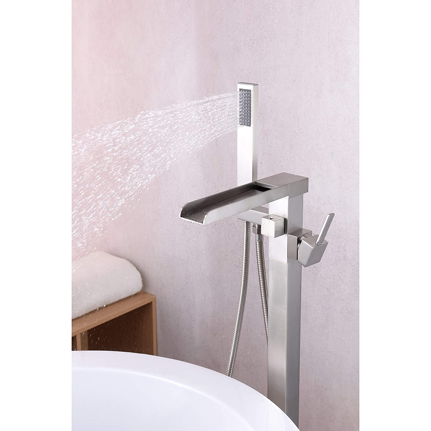 Kitchen Bath Fixtures Anzzi Union Floor Mounted Freestanding Bathtub Faucet In Brushed Nickel Clawfoot Tub Faucet With Extra Long Shower Hose Handheld Shower Sprayer 2 Handle Waterfall Tub Filler Fs Az0059bn Tools