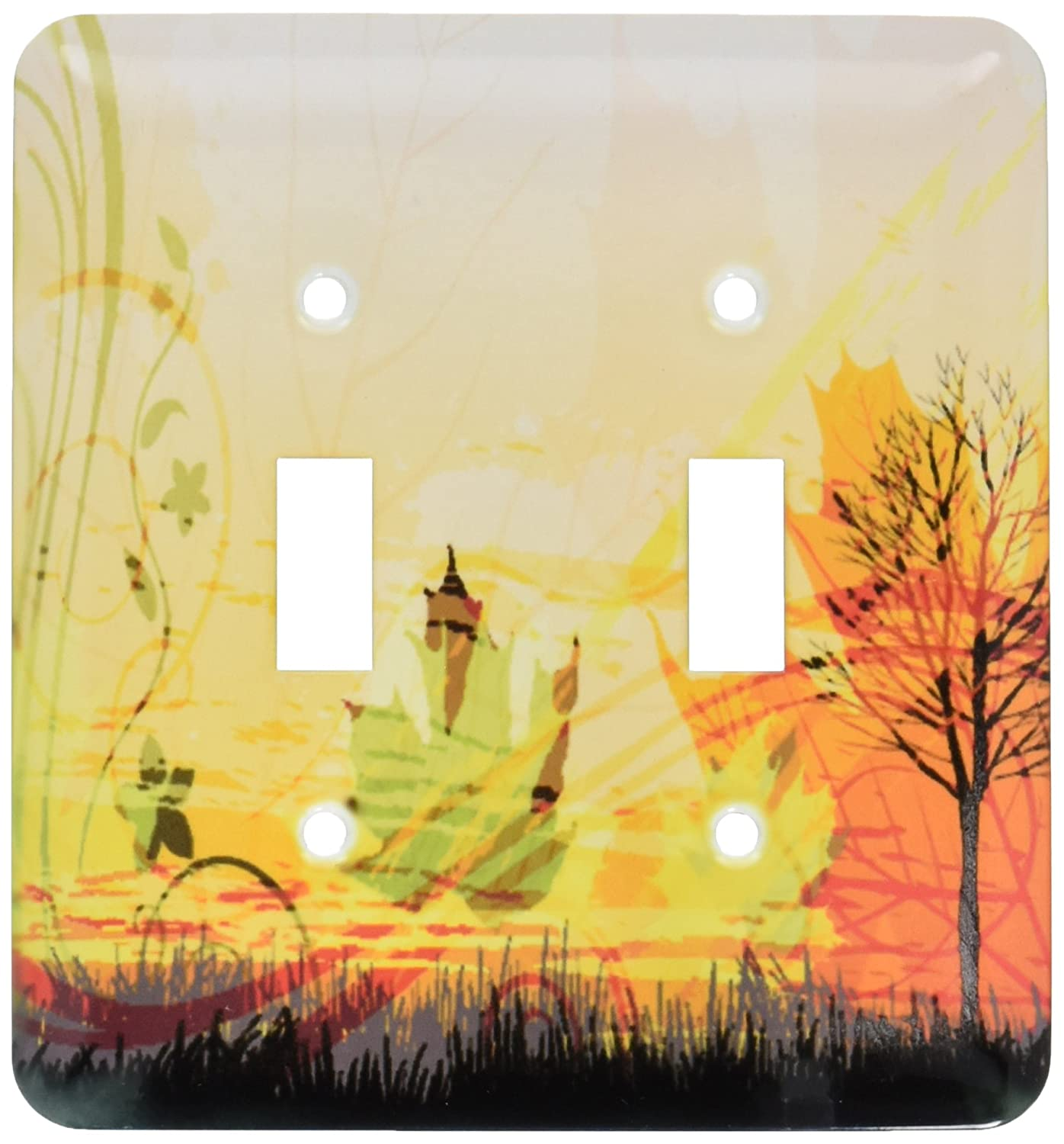 3dRose lsp/_159053/_2  A Pretty Fall Scene with A Tree and Fall Leaves Double Toggle Switch