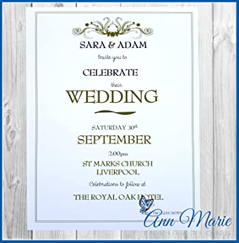 10 x wedding day evening invitations cards personalised invites with