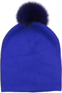 13a5941faf8 Amazon.com  Sofia Cashmere Women s Cashmere Fur Pom Hat-Chunky ...