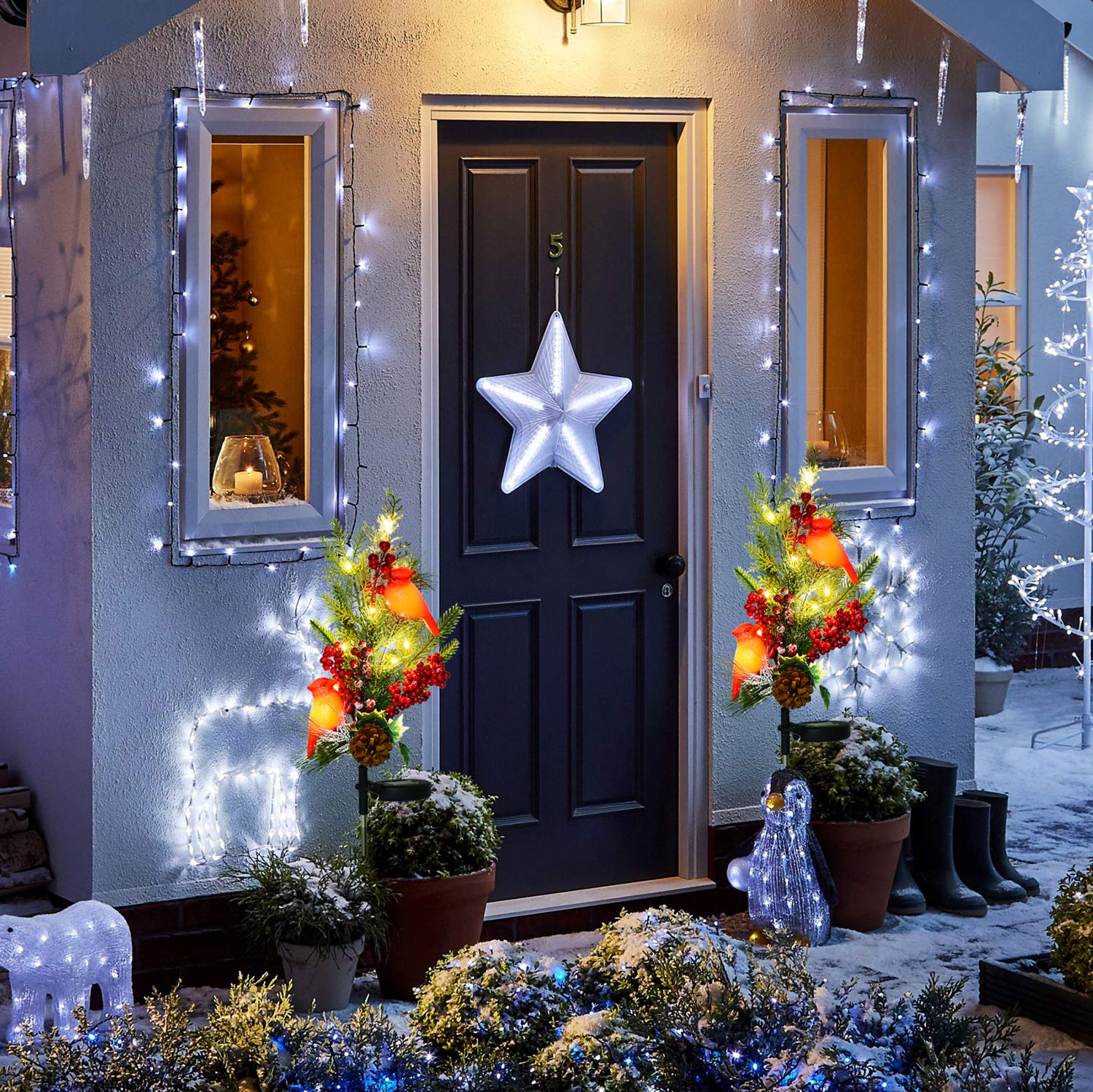 Doingart Outdoor Solar Christmas Light Decorations Snowman Christmas Light with Faux Pine Cones LED Candle Foliage Accents Garden Decorative Stake