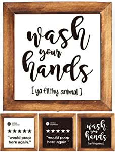KU-DaYi Wood Framed Block Sign -Wash Your Hands Funny Bathroom Quote, Rustic Farmhouse Guest Bathroom Toilet Wooden Sign Decor