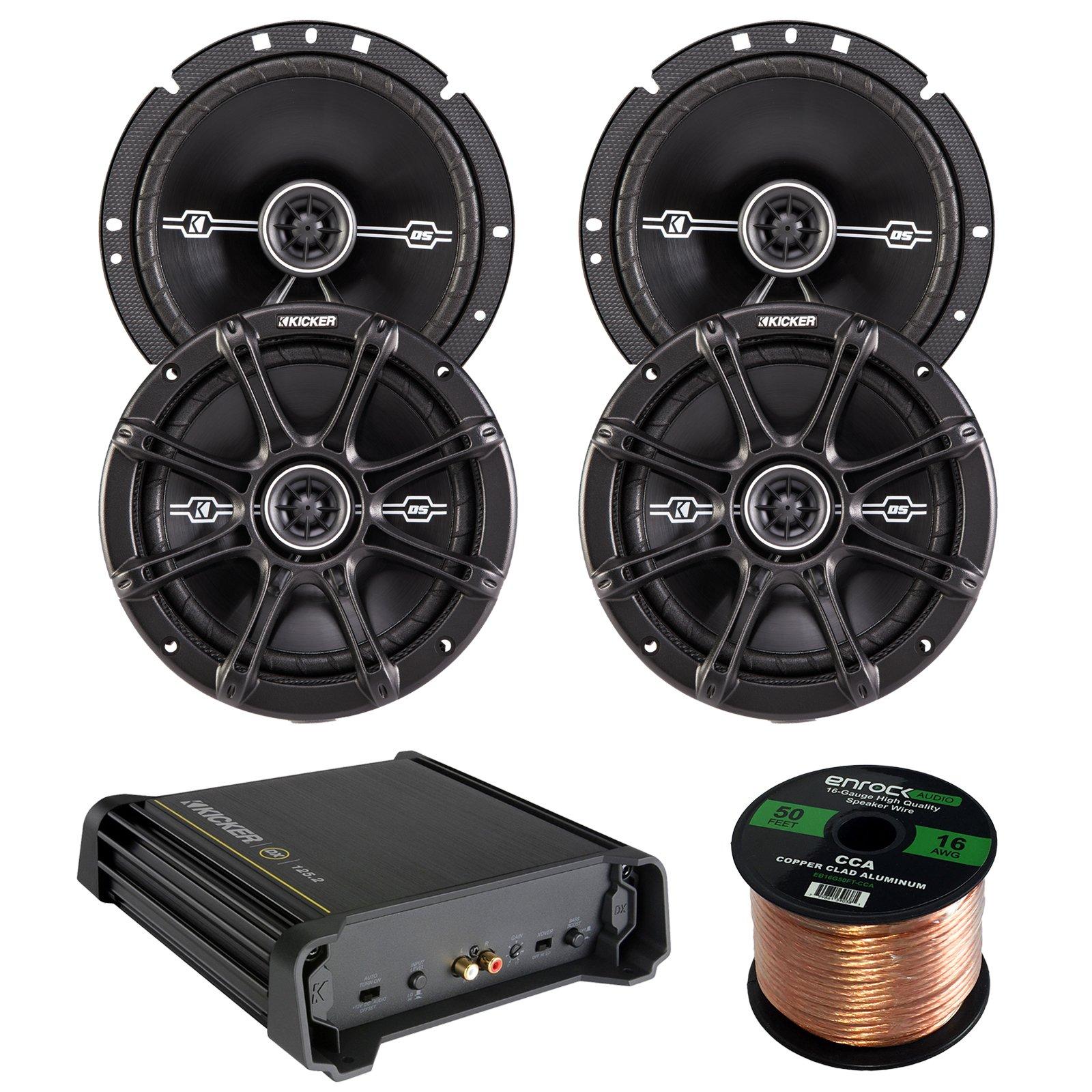 Car Amp & Speaker Combo:2 Pairs of Kicker 41DSC674 6.75'' Inch 240 Watt 2-Way Black Coaxial Speakers Bundle With 125 Watt RMS 2-Channel DX Series Audio Amplifier + Enrock 50 Foot 16 Gauge Speaker Wire