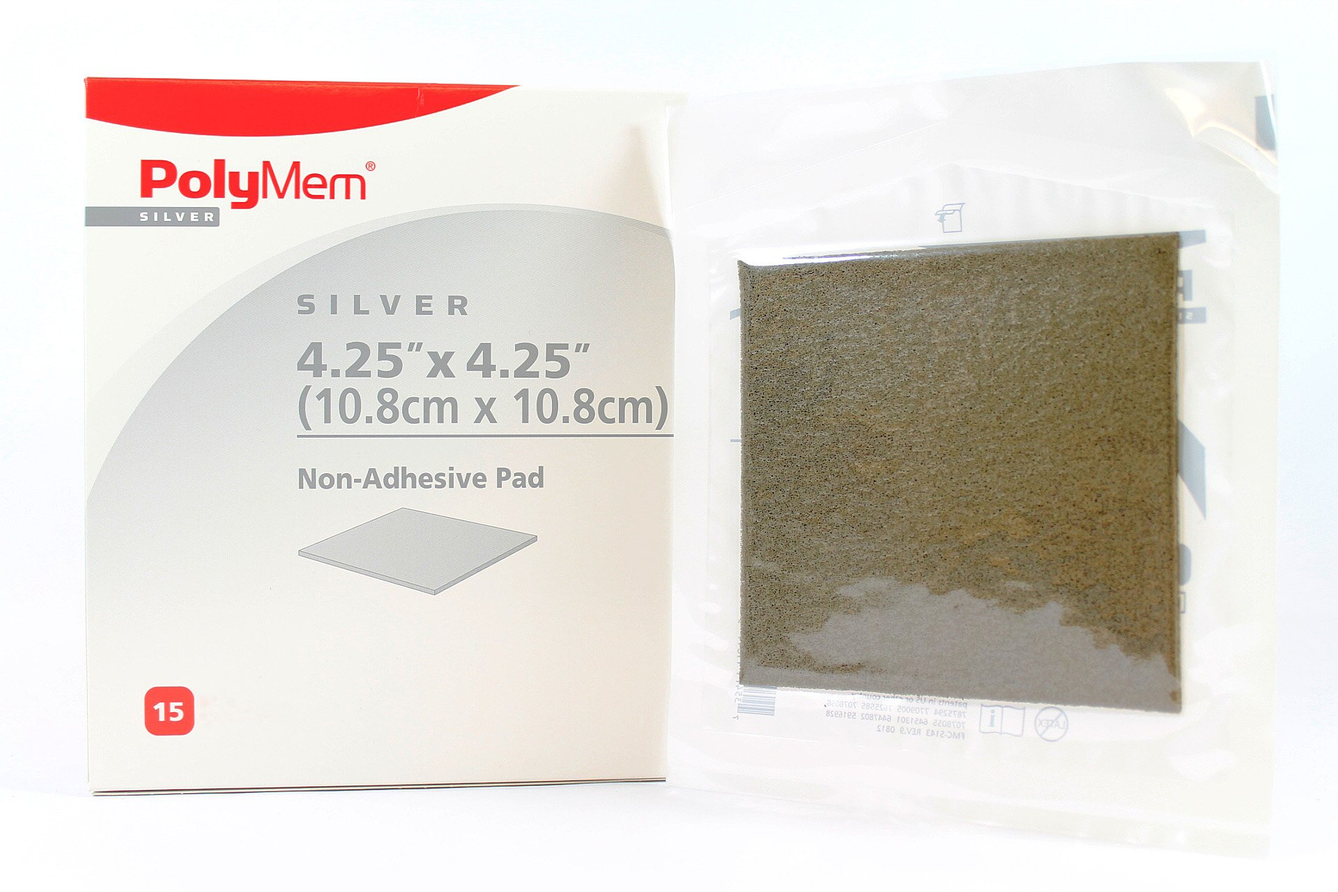 PolyMem Silv 1044 - Sterile Non-Adhesive Wound Dressing Pad - 4.25'' x 4.25'' - Box of 15