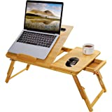 Laptop Bed Tray Multi Tasking Bamboo Lap Desk, Folding TV Tray Table, Smartphone Tablet Lap Tray for Homework Study Reading E
