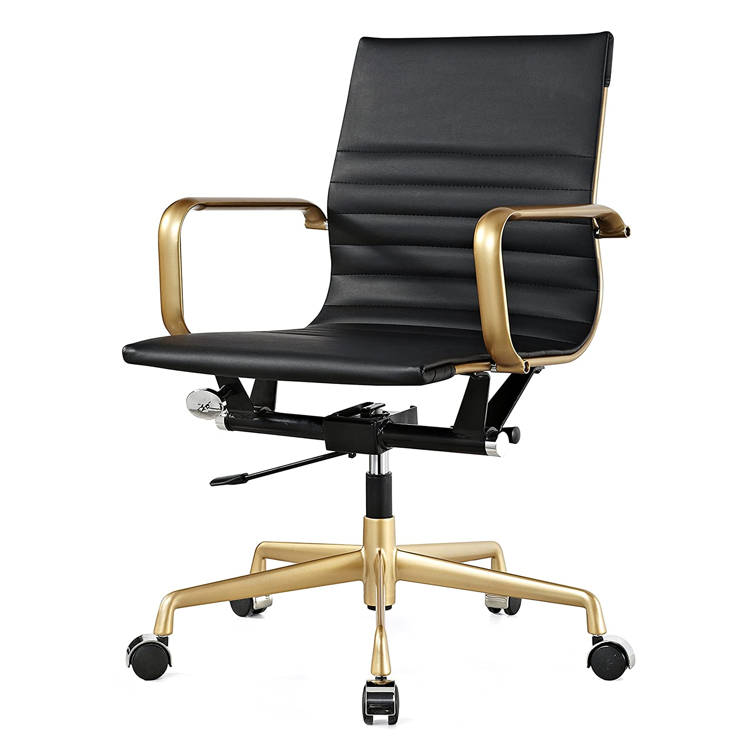 Meelano M348 Vegan Leather Office Chair, Gold/Black 348-GD-BLK