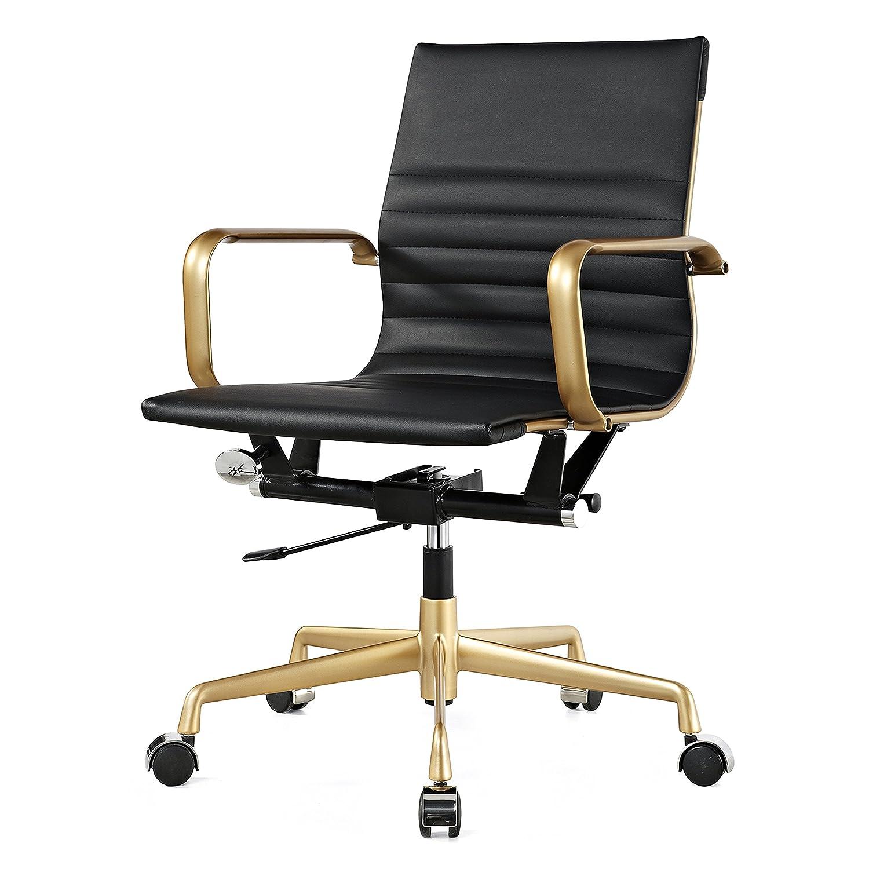 Meelano M348 Vegan Leather Office Chair, Gold/Black 348-GD-BLK