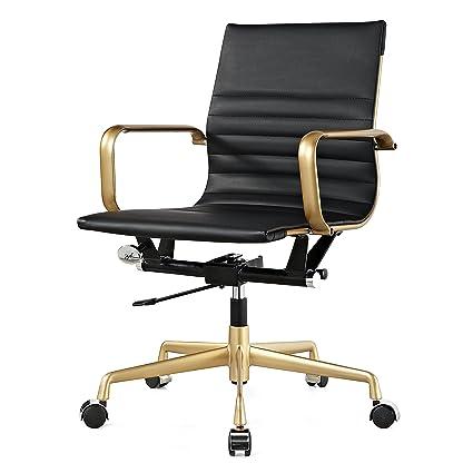 new photos 7d334 f93bd Meelano 348-GD-BLK M348 Home Office Chair, Gold/Black