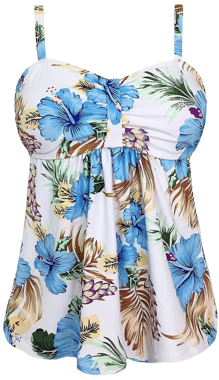 Gabrielle-Aug Women's Vintage Blue White Polka Dot Tankini Top Swimsuit(FBA) TKN-10