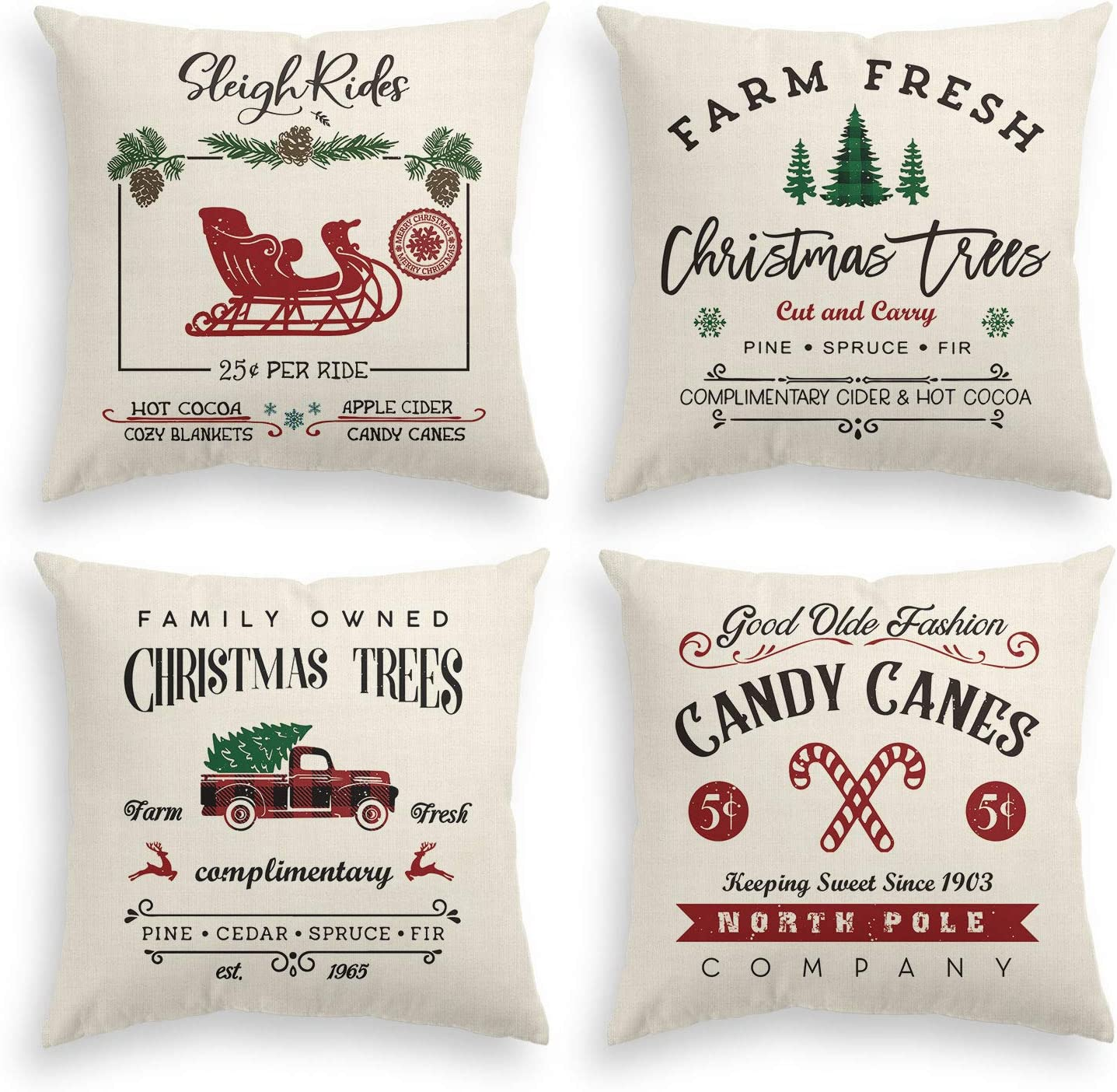 AVOIN Christmas Throw Pillow Cover, 20 x 20 Inch Winter Holiday Rustic Farmhouse Cushion Case for Sofa Couch Set of 4