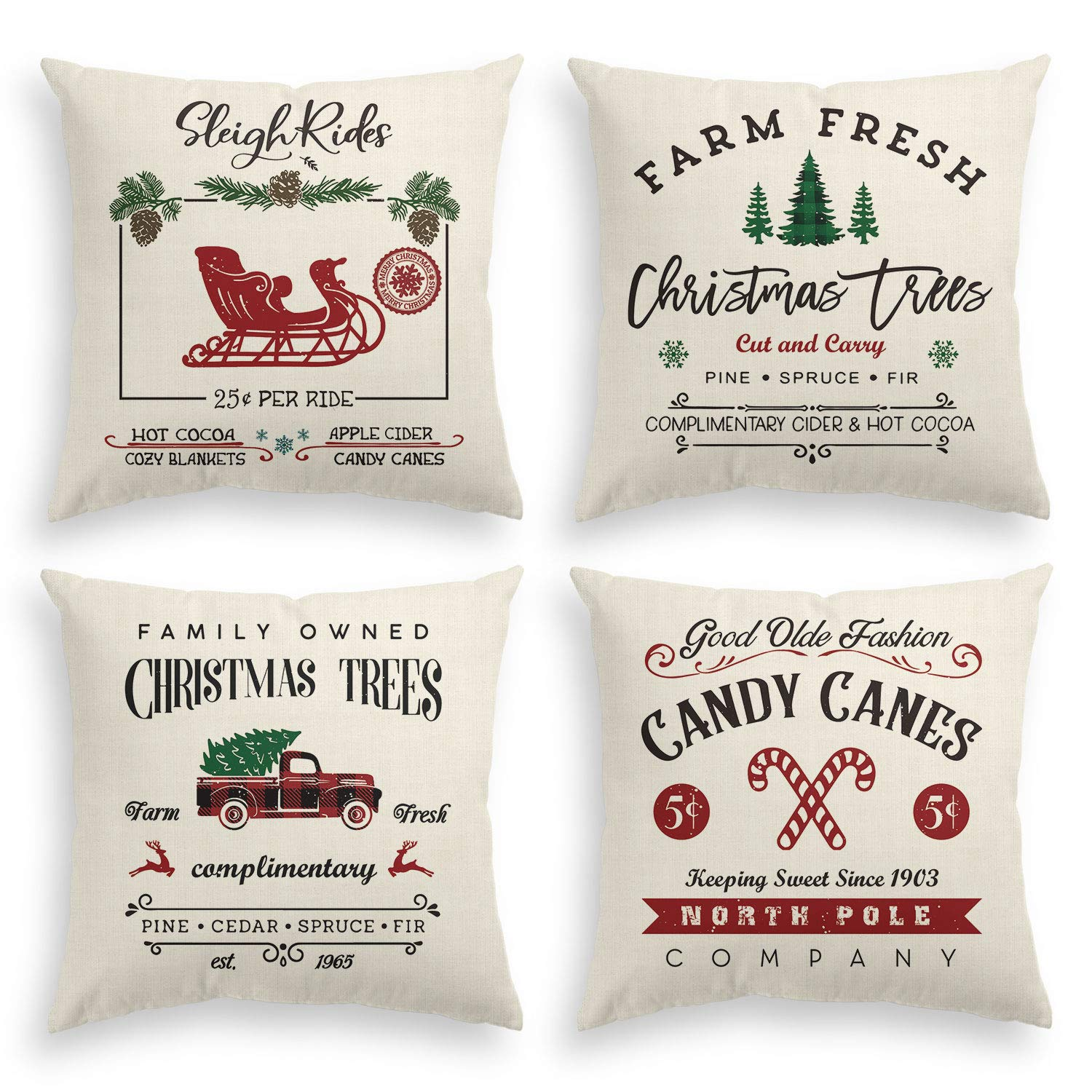 AVOIN Christmas Throw Pillow Cover, 18 x 18 Inch Winter Holiday Rustic Farmhouse Cushion Case for Sofa Couch Set of 4