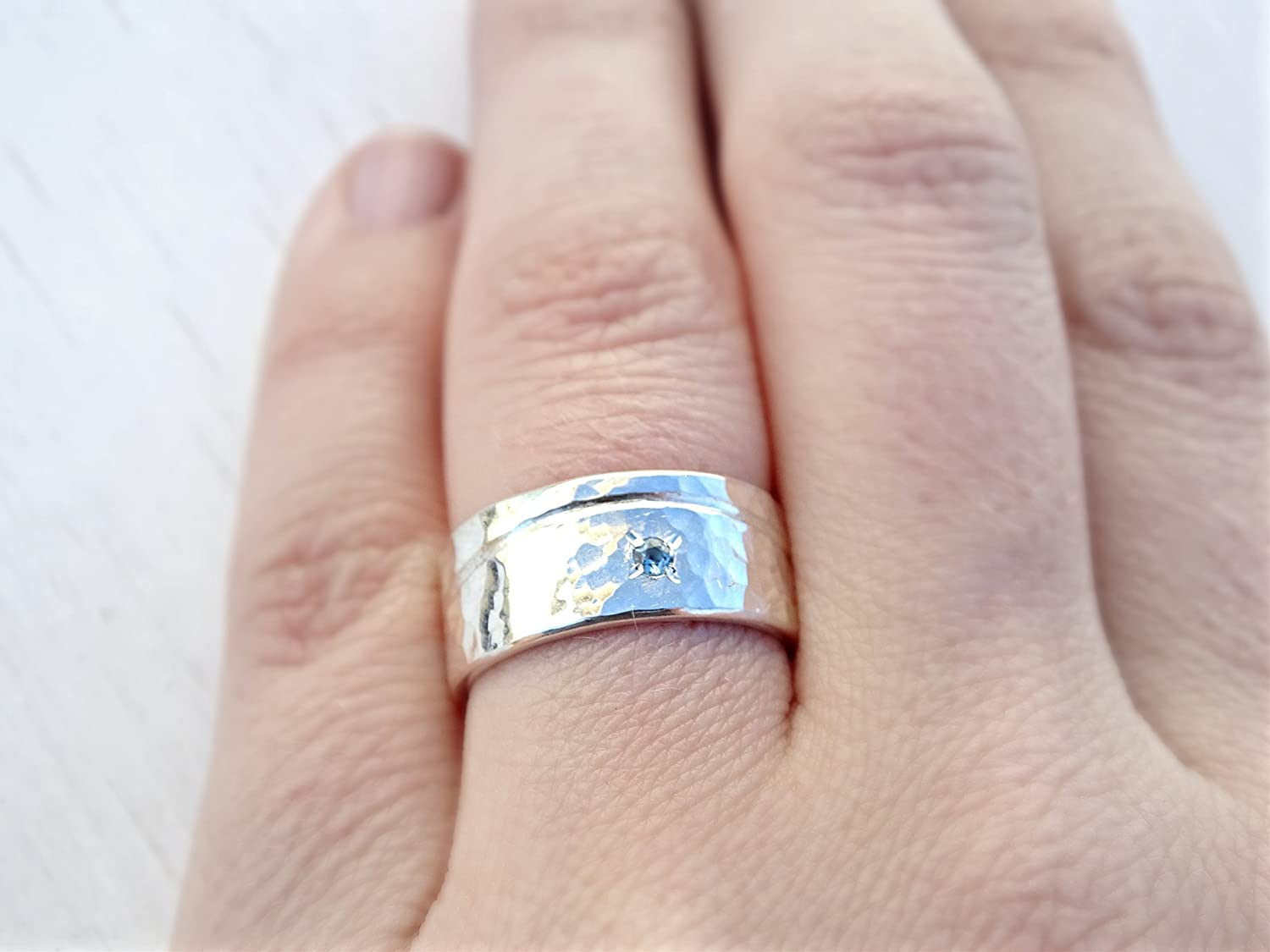 Amazon.com: beach wedding ring silver, wave silver ring boho, mens ...