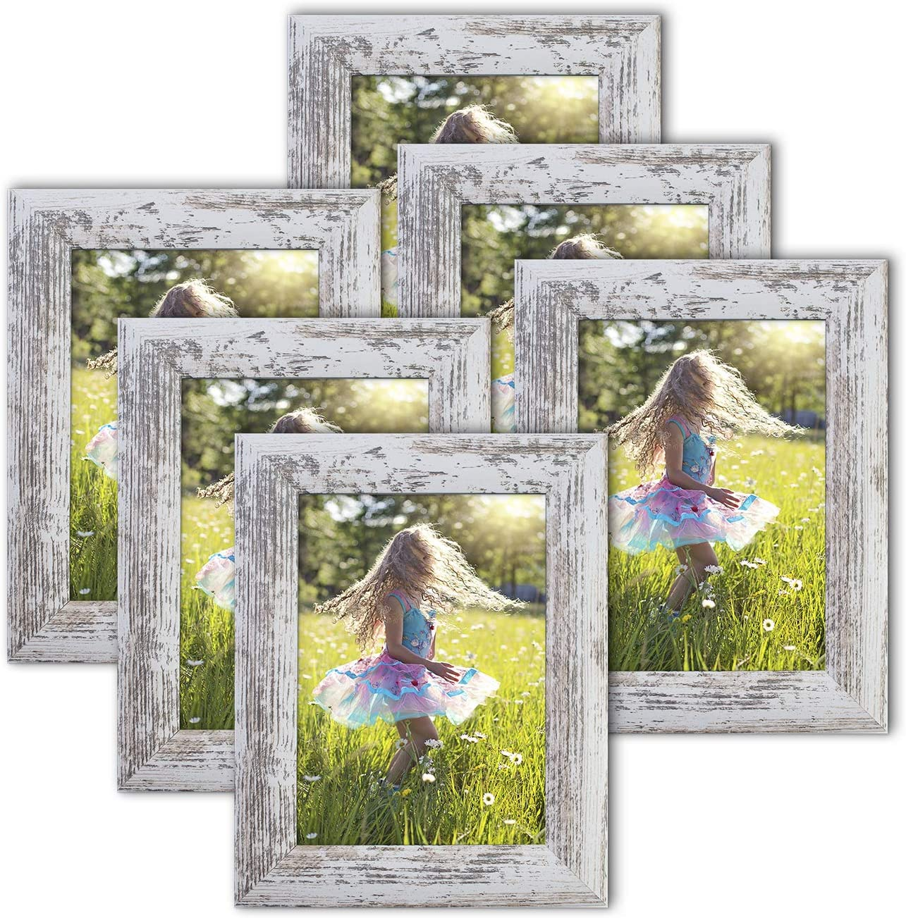 5x7 Picture Frames Wood Pattern Distressed White Photo Frames Packs 6 with High Definition Real Glass for Tabletop or Wall Decor