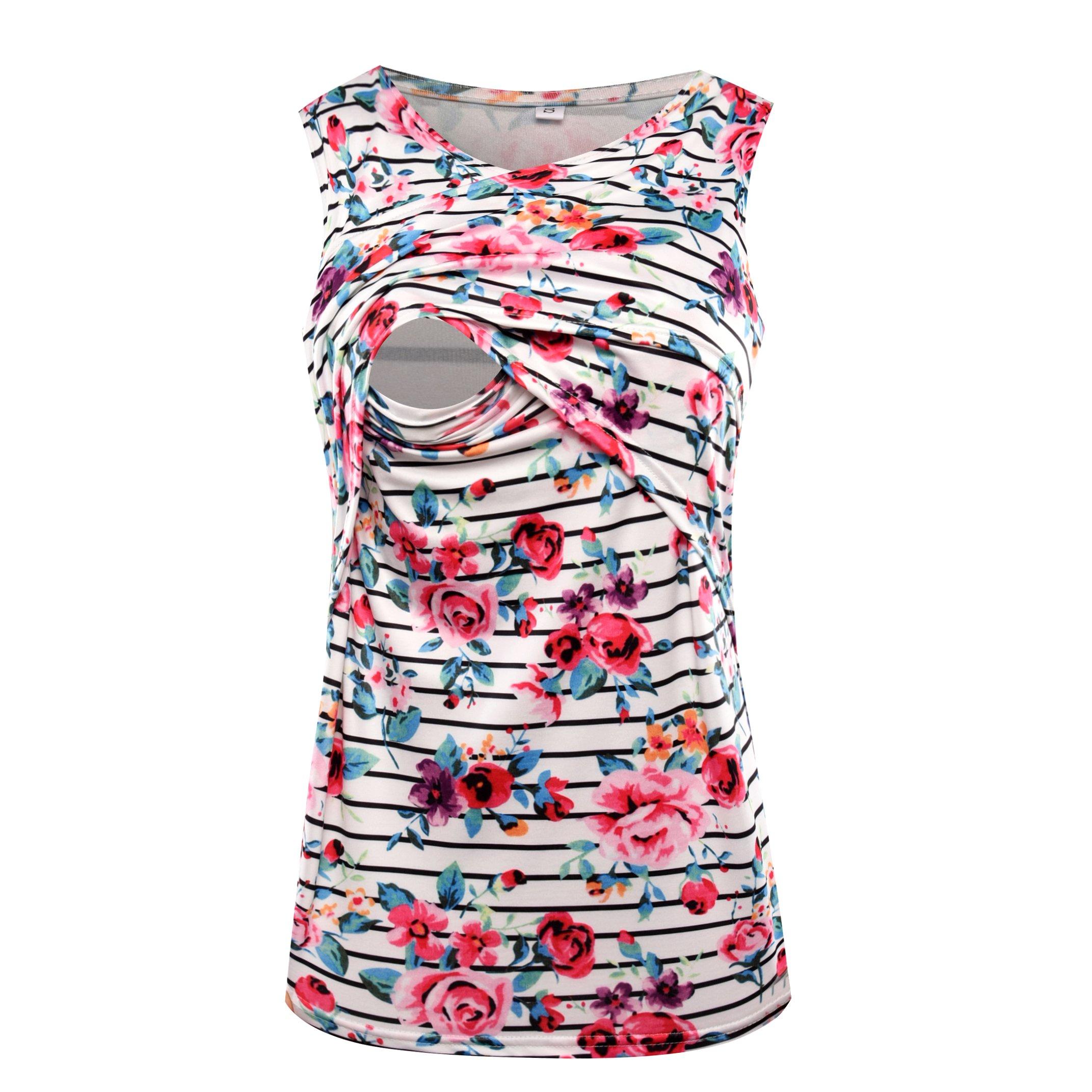 Women's Sleeveless Maternity Breastfeeding and Nursing Tank Top Cami Vest (L, White)