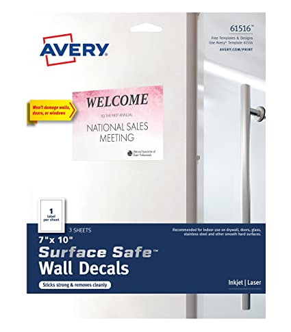 amazon com avery surface safe wall decals 7 x 10 removable