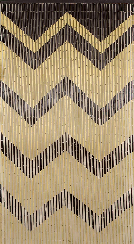 BeadedString Bamboo Wood Beaded Curtain-90 Strands-80 High-35.5 Wide-Bohemian Door Beads-Wave BT088-216