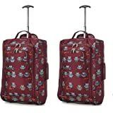 Set of 2 Super Lightweight Cabin Approved Luggage Travel Wheely Suitcase Wheeled Bags Bag Owls Burgundy