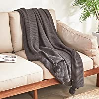 Decorative Knitted Throw Blankets Textured Lightweight Soft Blankets for Sofa Bed Couch 130 x 170 cm (Dark Grey)