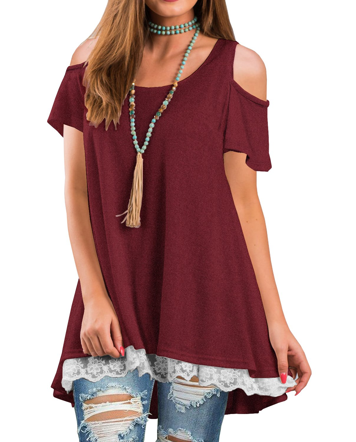 QIXING Women's Cold Shoulder Casual Tops Lace Hem Short Sleeve Tunic Blouse Wine Red-L