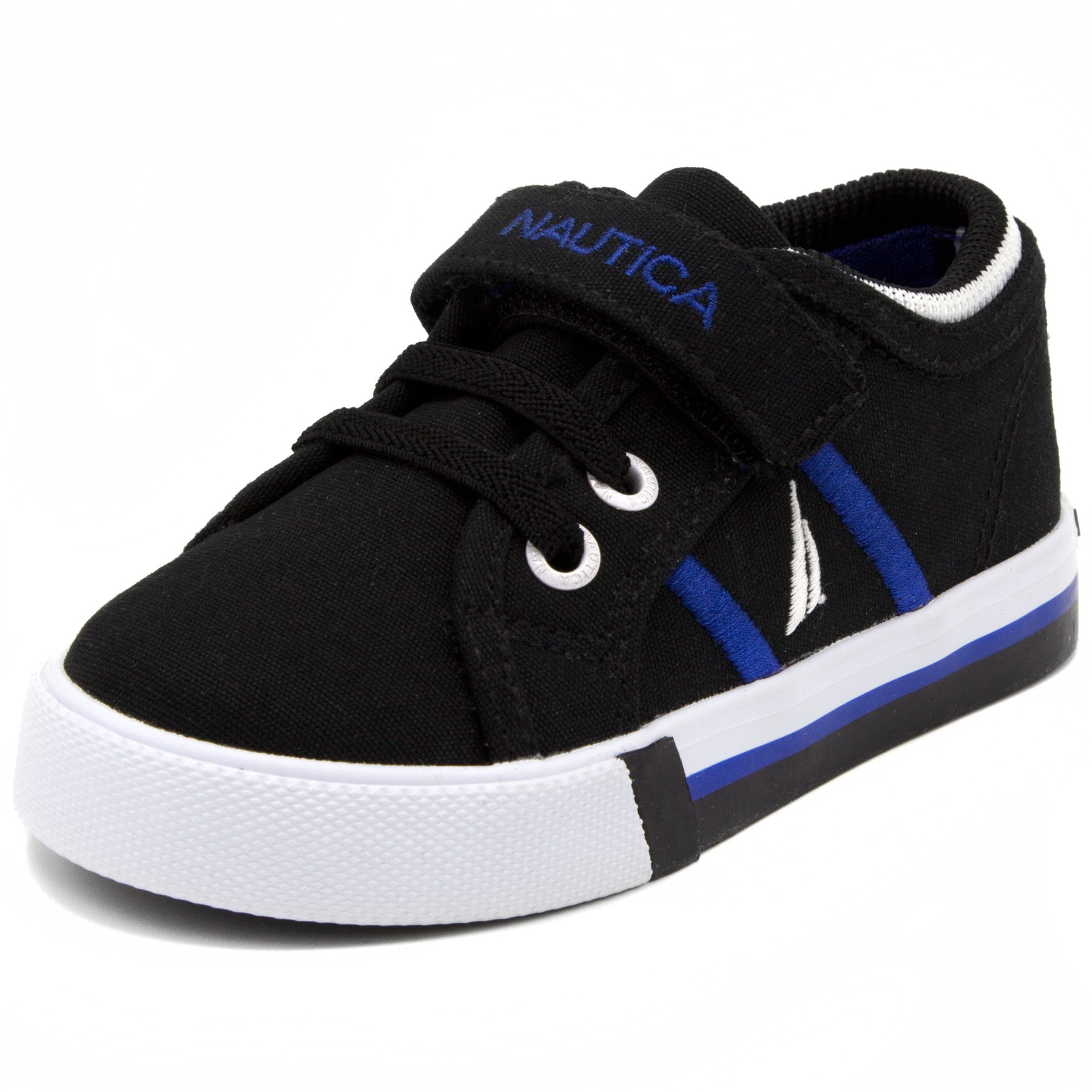 Nautica Toddler Edge View Canvas Sneakers Lace-up and Velcro Casual Shoes-Black-6