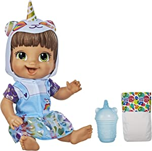 Baby Alive Tinycorns Doll, Panda Unicorn, Accessories, Drinks, Wets, Brown Hair Toy for Kids Ages 3 Years and Up