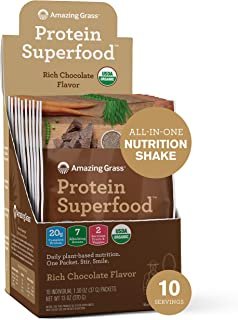 product image for Amazing Grass Protein Superfood: Organic Vegan Protein Powder, Plant Based Meal Replacement Shake with 2 servings of Fruits and Veggies, Rich Chocolate Flavor, 10 Single Serve Packets, 12.7 Ounce
