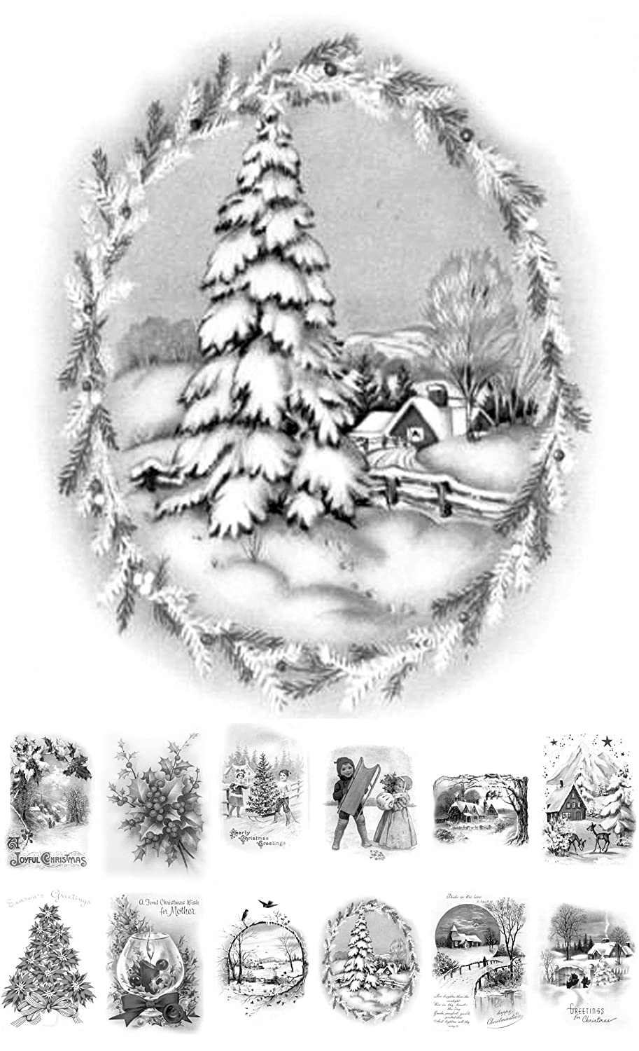 Adult Coloring Grayscale Cards (24 cards 4x6) Christmas Tree Landscapes Santa FLONZ Vintage Designs for Adult Coloring