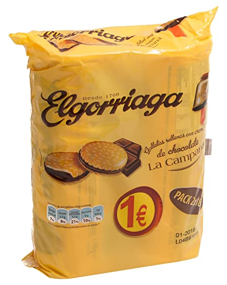 Elgorriaga Galletas Rellenas Con Crema Sabor Chocolate - Pack de 2 x 180 g - Total