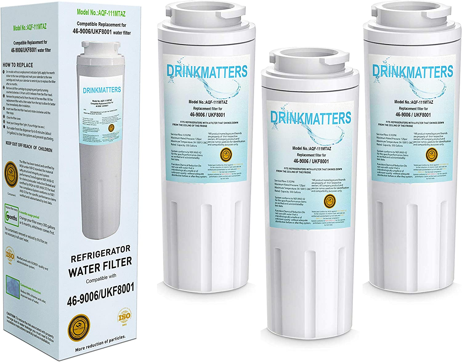 DRINKMATTERS Compatible Refrigerator Water Filter Replacement for Maytag UKF8001 UKF8001AXX-750 UKF8001AXX-200 Whirlpool 4396395 469006 EveryDrop Filter 4 PUR Puriclean II EDR4RXD - PACK of 3