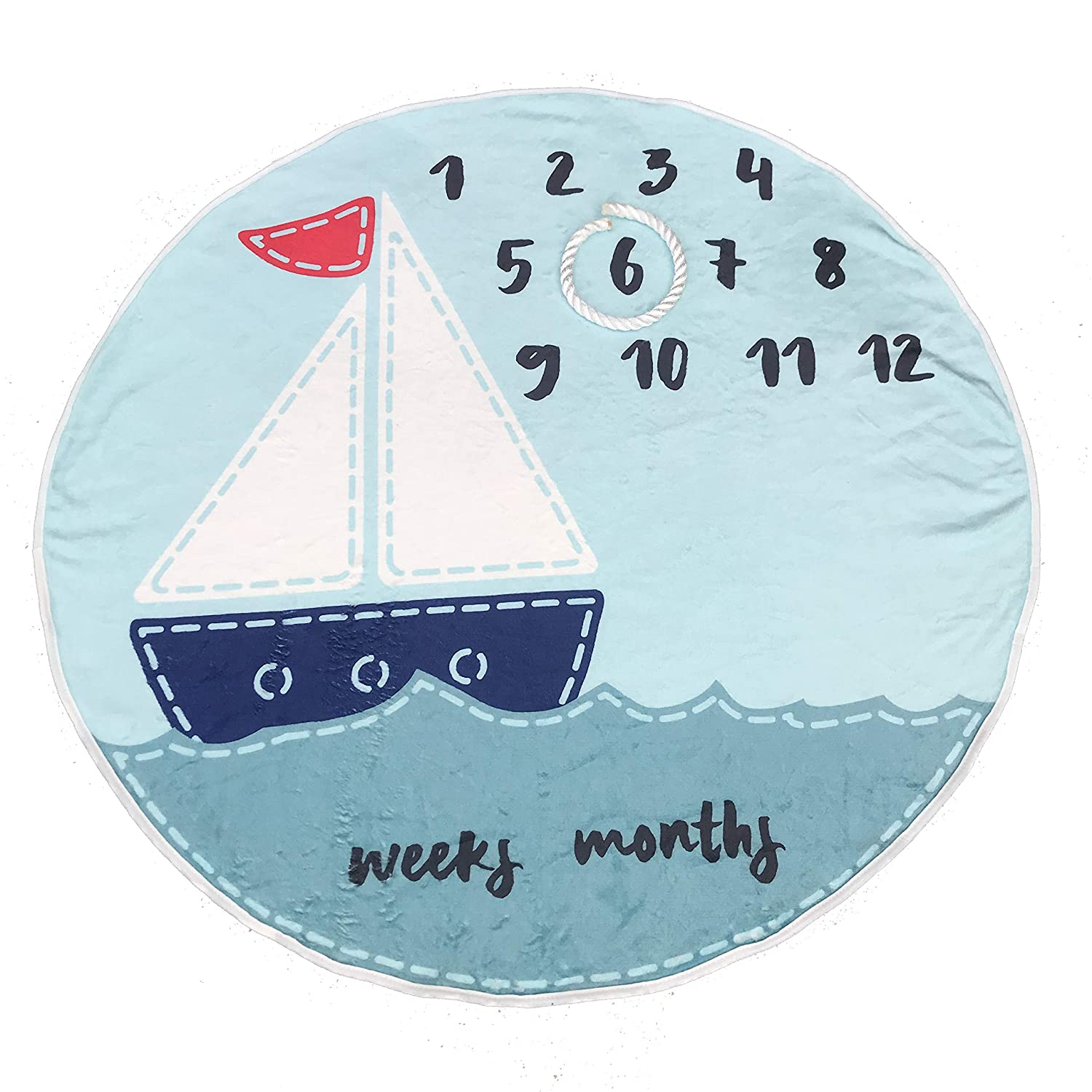 Premium Fleece Monthly Baby Milestone Blanket Round Blue Sailboat for Newborn to One Year 37 with Anchor Rope for Frame Kross Trends