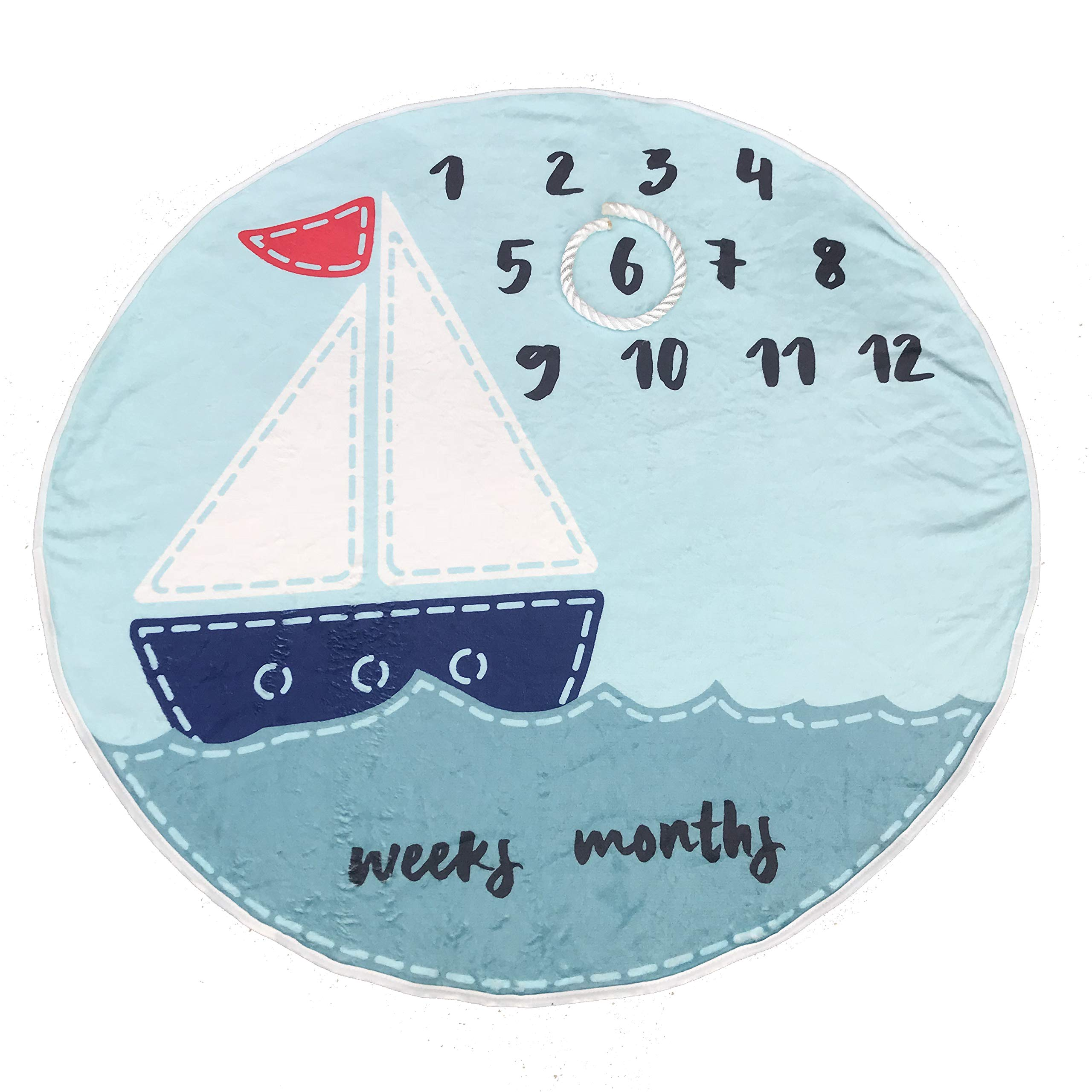 Premium Fleece Monthly Baby Milestone Blanket Round Blue Sailboat for Newborn to One Year 37'' with Anchor Rope for Frame