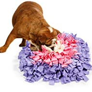 BenchMart Dog Snuffle Mat, Hand Woven Dog Sniffing Pad - Slow Feeding Dog Cat Food Mat/Activity Play Mat/Interactive Puzzle Toys/Dog Nosework Spliced Blanket (45 x 45cm/17.7×17.7inch) (Purple/Pink)