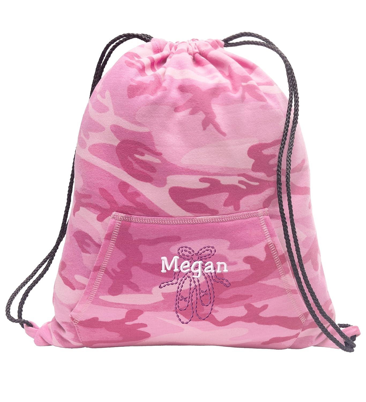 バレエ靴Personalized – スウェットシャツCinch Bag withカンガルーポケット B01L9W8Q0I ピンク迷彩