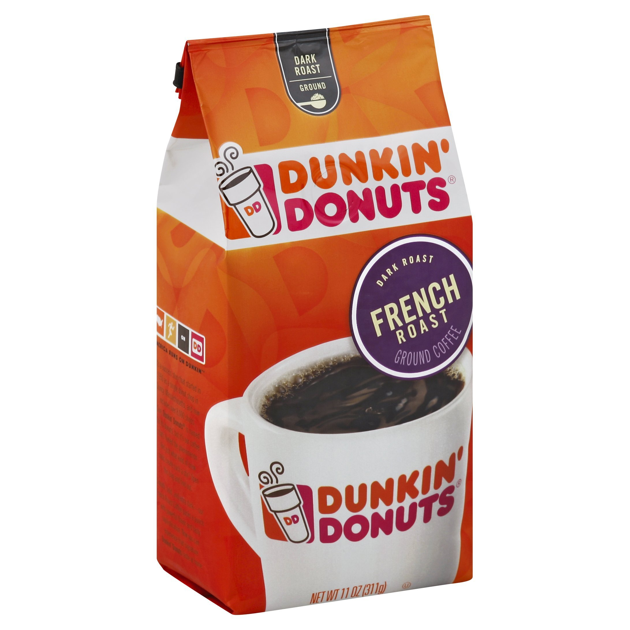 Dunkin' Donuts French Roast Ground Coffee, Dark Roast, 11 Ounces, 6 Count