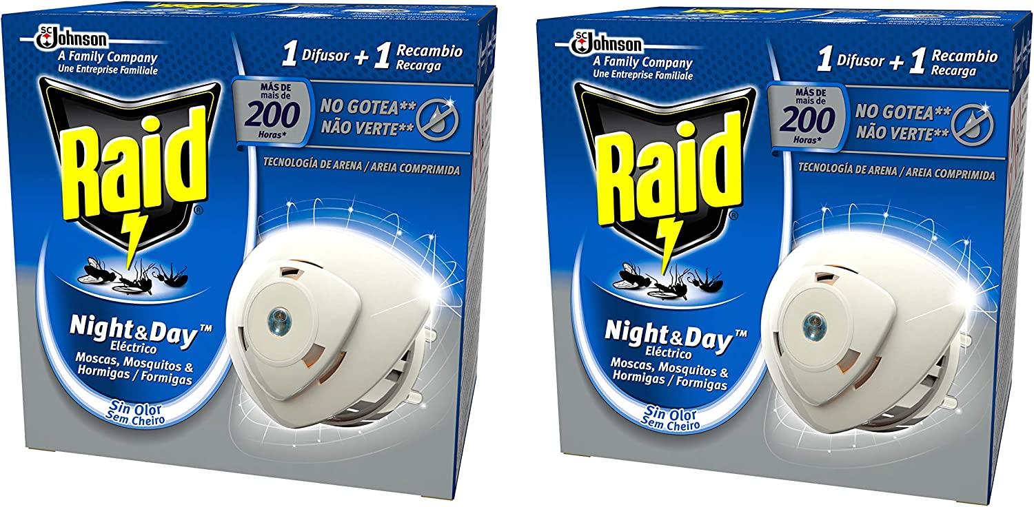 Raid - Night & Day - Anti-mosquitos Eléctrico - Aparato + Recambio - [Pack de 2]