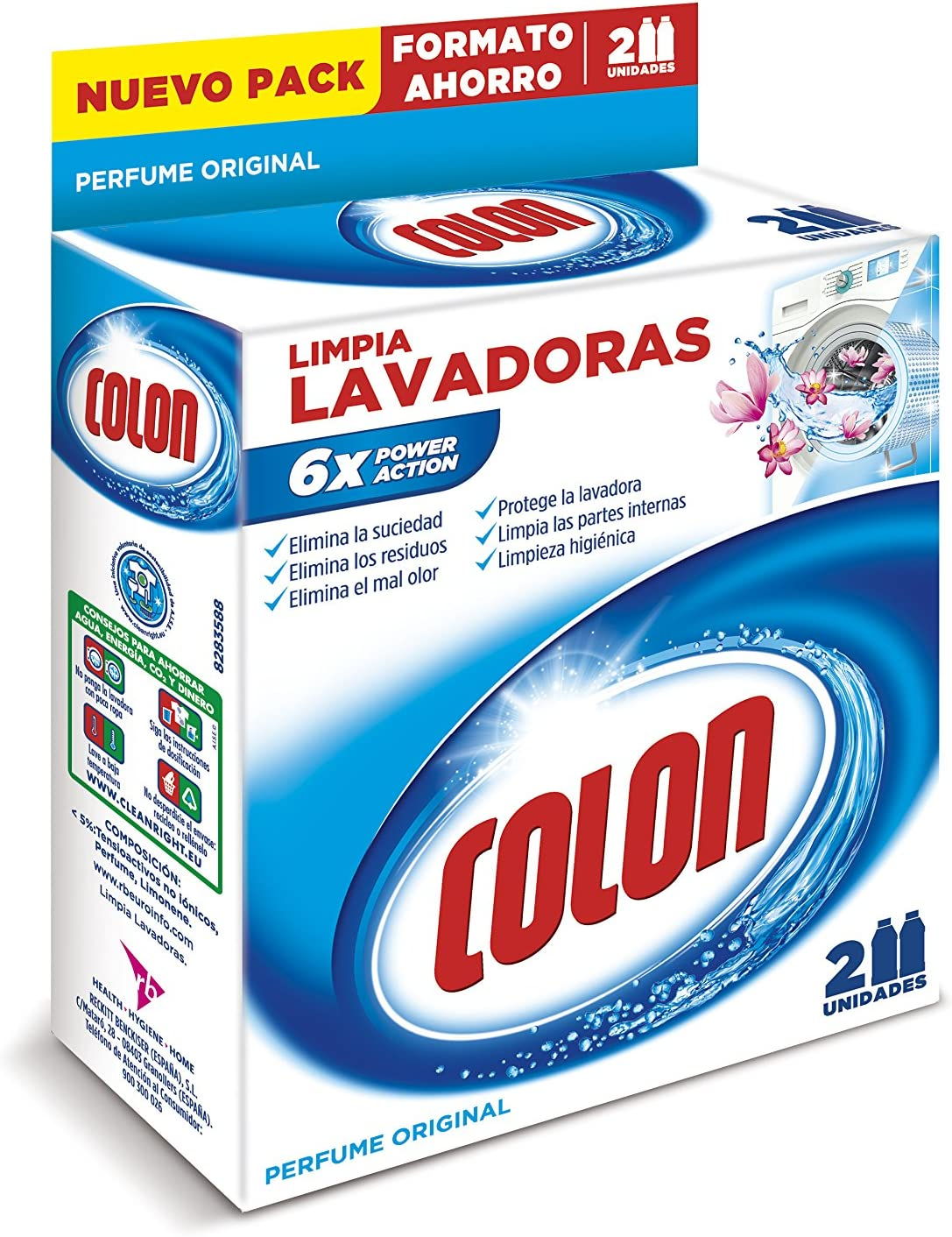 Colon Limpialavadoras - Limpiador de lavadora y antiolor - pack de ...