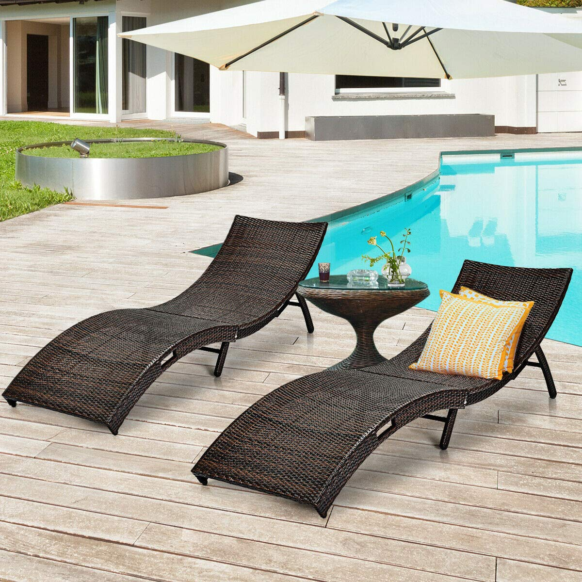 Amazon.com: Stark Item 2PCS Patio Folding Rattan Lounge ...