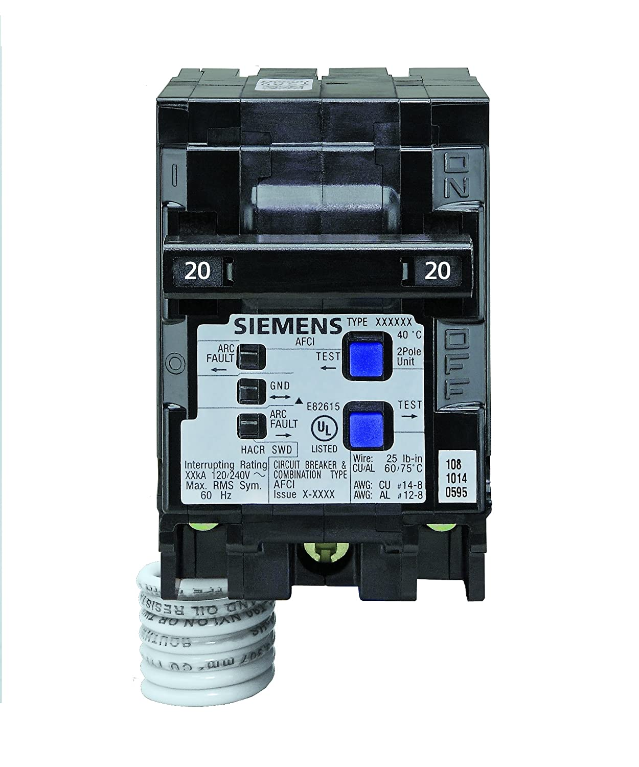 Siemens Q215AFCP 2-Pole 120-Volt combination type arc fault circuit ...