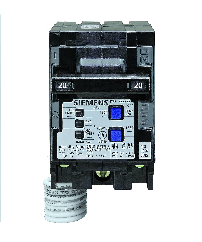 Siemens Q220AFC 20-Amp 2 Pole 120-Volt Combination Type Arc Fault ...