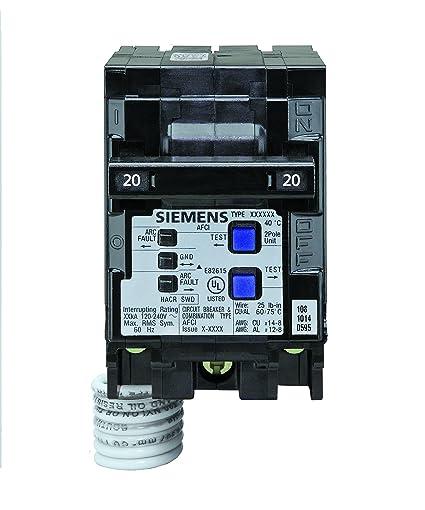 siemens q220afc 20 amp 2 pole 120 volt combination type arc fault rh amazon com