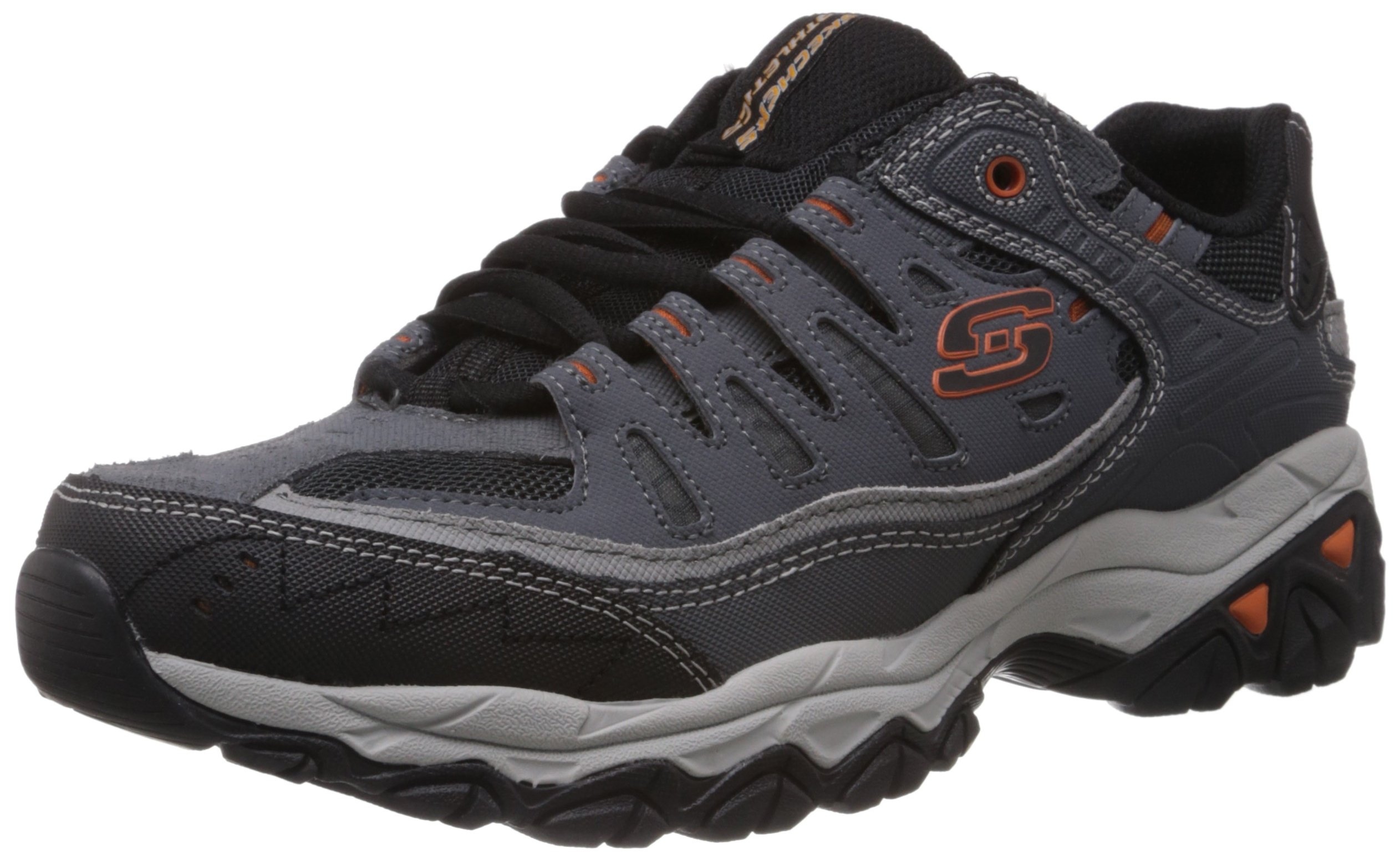 Skechers Sport Men's Afterburn Memory Foam Lace-Up Sneaker, Charcoal, 8.5 4E US by Skechers