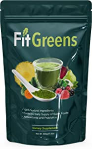 Fit Greens USDA Organic Superfood Powder Premium Super Greens - All-Natural Veggie Greens Daily Supplement for Energy, Immunity & Health - Wheat Grass, Spirulina Powder, Alfalfa & More - 30 Servings