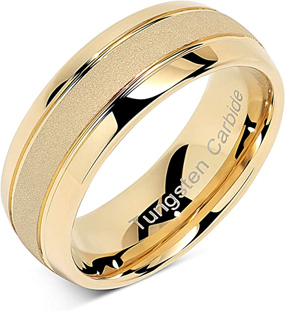 Custom Bezel-set Tungsten Band with Diamonds or Birthstones TS166 with FREE ENGRAVING see description for details